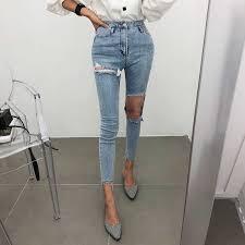 <b>Spring Summer</b> Irregular <b>Stretch Patchwork</b> Denim Jeans Women ...