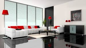 appealing home interior design ideas with l shape colored sofa and red color cushions and square shape black wooden coffee table and large white plush rug appealing design ideas home