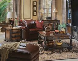 fascinating craftsman living room chairs furniture: a leather armchair and ottoman combined with matching coffee table and side table with storage create