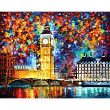 Modern art landscape London <b>big</b> ben palette knife oil <b>painting High</b> ...