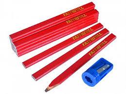 <b>Carpenters</b> Pencils Red (<b>12</b>) and Sharpener Tube | FaithfullTools.com
