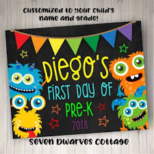 <b>Rainbow Monsters</b> First Day/Last Day of School Printable ...
