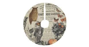 Modern vintage <b>Halloween</b> owl and <b>skull Faux</b> Linen Tree Skirt ...
