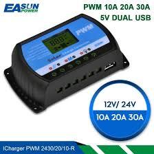 Shop Solar Controller 12V 24V <b>30A 20A 10A</b> Solar Regulator <b>PWM</b> ...