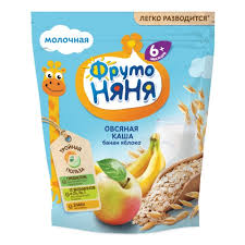 <b>Каша ФрутоНяня молочная овсяная</b> с бананом и яблоком, с 6 мес ...