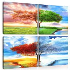 Embelish 4 Panels <b>Wall</b> Art Posters Four Seasons Trees <b>Landscape</b> ...