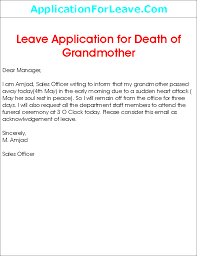 leave application for grandmother death png leave application on grandmother death