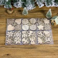 <b>12PCs</b> Happy <b>New Year</b> Wooden Snowflake Angel Christmas ...