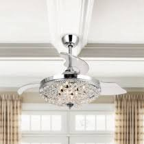 Ceiling Fan with <b>LED</b> Light and <b>Remote Control</b>, <b>Modern</b> Crystal ...