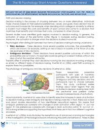 ib psychology bloa saqs com the ib psychology short answer questions answered explain the use of one brain imaging technology for