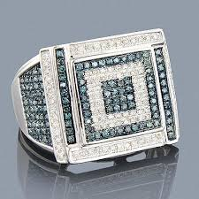 This Mens <b>Blue</b> Diamond Ring in 10K gold showcases a <b>unique</b> ...