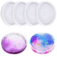 4 Pack <b>Round Silicone Coaster</b> Molds - Buytra Silicone Resin Mold ...
