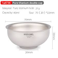Pure <b>Titanium Double layer Portable</b> Tea Set Bowl Teacup Camping ...