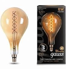 <b>Лампа Gauss LED Vintage</b> Filament Flexible A160 8W E27 160 ...