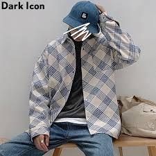 <b>Flannel Plaid Shirt</b> Men Long Sleeve <b>2019 New</b> Street Checkered ...