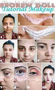 top 13 broken doll tutorial makeup eyebrows dark brown eyeshadow eyelids base color doll eye gigantic doll eye eyeliner dark color to match the