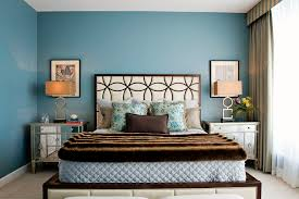 cream and blue bedroom