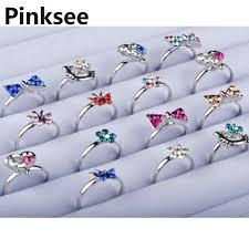 <b>10pcs</b> Heart Design Crystal Flower <b>Butterfly</b> Ring Wholesale <b>Lot</b> ...