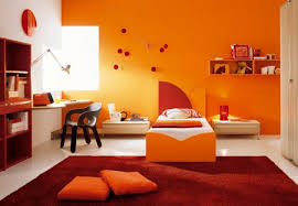 white decorating bedroom colors interior orange kids bedroom ideas with white single bed on the orange divan an