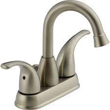 satin nickel bathroom faucets: peerless transitional brushed nickel  handle  in centerset watersense bathroom faucet drain