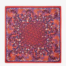 Red silk foulard - FF <b>FLOWER PATTERN</b> FOULARD | Fendi