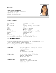 simple resume format cover letter templates simple resume format biodata resume format and 6 template samples hloom simple personal biodata format