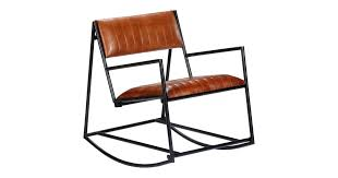 <b>Rocking Chair Brown</b> Real Leather - Matt Blatt