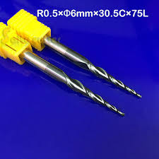 2p R0.5*D6*30.5*75 cnc Solid Carbide tapered Ball nose endmill ...