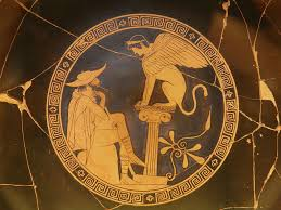 what s the focus of sophocles oedipus you re the teacher oedipus the sphinx pottery decoration from circa 470 bce