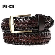 <b>Ifendei Men</b> Genuine <b>Leather Belt</b> Pin Buckle Braided <b>Belts</b> For <b>Men</b> ...