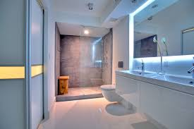 porcelain tile shower bathroom contemporary with cove lights double vanity image by one db architecture bathroom contemporary bathroom lighting porcelain