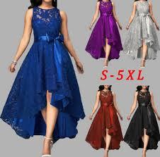 5 Colors <b>Plus Size 5XL Women</b> Lace Party Dress Joineles High Low ...