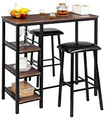 <b>3 Piece Bistro</b> Set Pub Table and Stools Modern Counter Height Bar ...
