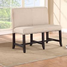 tufted dining bench with back  bench with tufted back white ivory fabric dining banquette with nailheads trim liner
