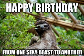 Happy Birthday From one sexy beast to another - Fabulous Sloth ... via Relatably.com