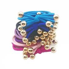 <b>5Pcs</b>/<b>Lot</b> Gold Balls <b>Hair Bands</b> Three Layer Ponytail Holder <b>Rubber</b> ...
