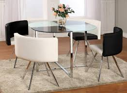 astonishing modern dining room sets: contemporary dining room table sets chrome leg round seats with white black dining set chairs glass