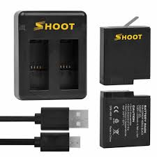 <b>SHOOT Dual Port Battery</b> Charger w/ 2pcs Battery for GoPro Hero 5 ...