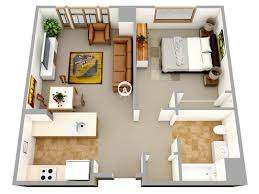 Small Picture 3D one bedroom small house floor plans for single man or woman are