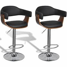 Furniture Set of 2 Adjustable Swivel Bar Stool <b>Artificial Leather</b> 360 ...