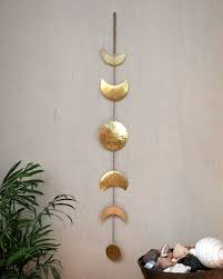 phase wall decor gold moon phases wall hanging brass full moon wall decor moon wall art moon