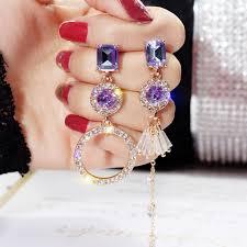 BELLA  <b>S925 silver needle Asymmetric</b> diamond ring earrings ...