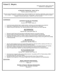 financial analyst resume senior financial analyst resume