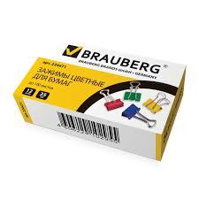 <b>Зажимы</b> для бумаг <b>Brauberg</b> 12 шт, 25 мм, на 100 листов, цветные