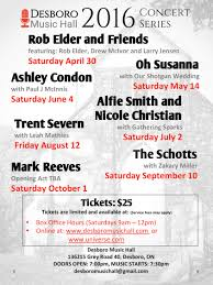 concert series desboro music hall line up release