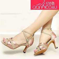 <b>Woman</b> Qian Jiao <b>Dance</b> Shine Satin Diamond Latin <b>Dance Shoes</b> ...