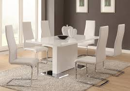 chair dining tables room contemporary: coaster modern dining white dining table with chrome metal base coaster fine furniture
