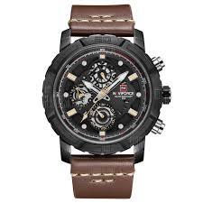 NAVIFORCE Men Waterproof Analog Quartz Watches Leather Band ...
