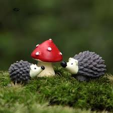 BK   <b>3Pcs</b>/<b>Set</b> Garden Moss Resin Crafts <b>Artificial</b> Mini Hedgehog ...