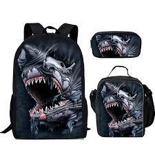 <b>FOR U DESIGNS</b> Backpack Set 3 Piece Shark Canvas <b>School</b> Bag